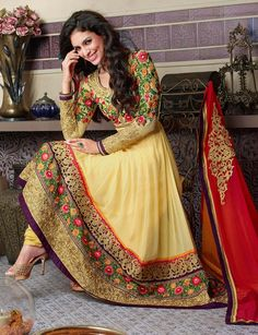 Designer Anarkali Shalwar Kameez In Yellow . SHop at - http://www.gravity-fashion.com/designer-anarkali-shalwar-kameez-in-yellow-ae0417.html