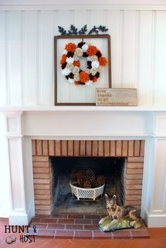This DIY reverse painted sign reminds me to be thankful in all things including the small. It's the center of our fall mantel decorations. Fall Mantel Decorations, Halloween Decorations, Holiday Decor, Pom Pom Wreath, Pom Poms, Thanksgiving Mantle, Daily Holidays, Carnival Prizes, How To Make Taco