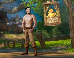 Flynn Rider ...Tangled Flynn Rider, Tangled, Disneyland, Buddha, Bear, Statue, Painting, Rapunzel, Painting Art