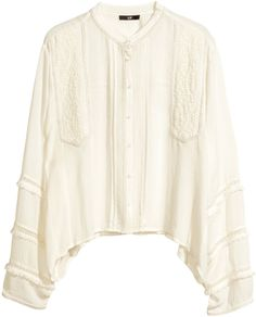 H&M Embroidered Blouse - Natural white - Ladies on shopstyle.com