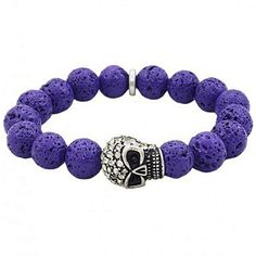 The featured bracelet showcases a alloy skull, lava rocks strung together as a very fashionable bracelet.