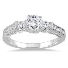 1.00 Carat Tw Three Stone D/VVS1 Diamond Engagement Wedding Ring Bridal Jewelry #Jewelsbyeanda