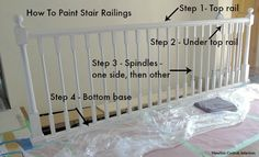 Learn how to paint stair railings with this step-by-step tutorial. Painting your railing is a budget-friendly way to give it an amazing update! Bannister Ideas Painted, Painted Stair Railings, Stair Spindles, Painted Staircases, Staircase Railings, Painted Stairs, Banisters, Staircase Design, Spiral Staircases