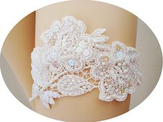 AMIRA  Elegant Beaded Floral Applique Lace by luxebridalcouture, $28.00