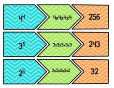 Exponent Tri Match Center, Common Core Standard:  6.EE.1