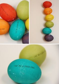 diy stamped easter eggs @Tammy Kemp -- think of all the egg puns you possibly can put on these!!!