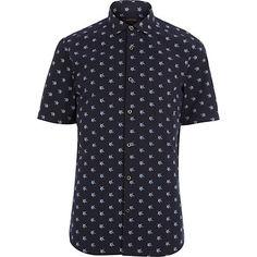 Navy star print short sleeve shirt - printed shirts - shirts - men
