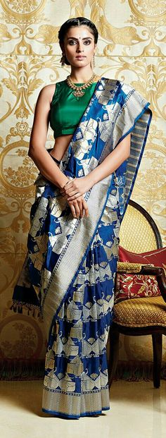 Rare but Beautiful color combination for a silk saree. Elegant!