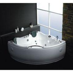 EAGO+AM125+5'+Double+Corner+Acrylic+White+Whirlpool+Bathtub