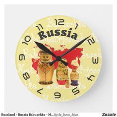 Russland - Russia Babuschka - Matrjoschka Wanduhr Clock, Wall, Blue, Decor, Matryoshka Doll, Russia, Random Stuff, Presents, Nice Asses