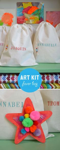 This is such a great idea instead of giving those silly little toys that get thrown away anyways! :) ... Art Kit Favor Bag | Art Bar Blog