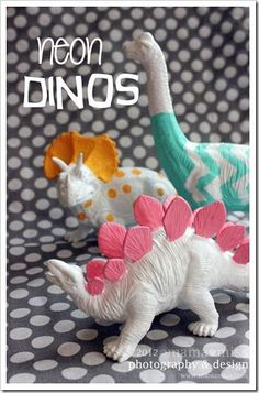 home DIY: neon dinos. i really like the chevron one, even tho im not usually a fan of the pattern Plastic Animal Crafts, Plastic Animals, Diy Arts And Crafts, Fun Crafts, Crafts For Kids, Dinosaur Birthday Party, Dinosaur Toys, Partys, Animal Party