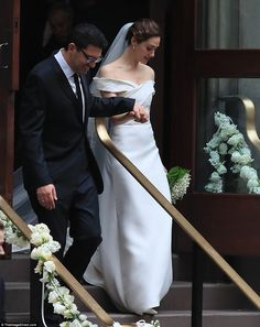 Vision in white: The Shameless star looked beautiful in an off the shoulder Carolina Herrera gown