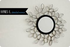 Decorative Mirror from Toilet Paper Rolls