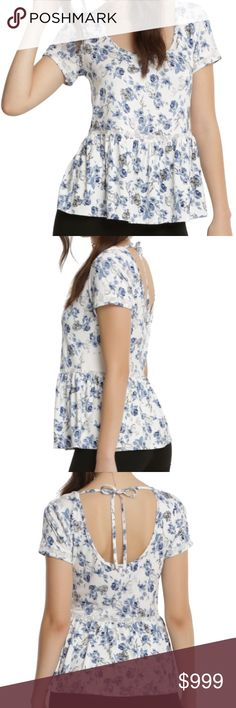 🎉SALE🎉 New~ Beauty & The Beast Rose Peplum Top Disney Beauty & The Beast  Rose Print Peplum Top Blouse Condition: New Color: White & Blue Product Details:  Be our guest! A beautiful top to wear to a party or everyday casual use  peplum top allover rose and character print inspired by Disney's Beauty and the Beast ties at back 95% rayon; 5% spandex Wash cold; dry low Imported Measurements: Disney Tops Blouses