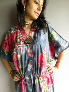Gray Maternity Hospital Gown Nursing Kaftan  by silkandmore, $34.00