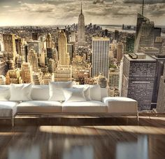"New York City ""Sleepless"" wall mural New York Wallpaper, Photo Wallpaper, Wallpaper Murals, Bedroom Murals, Wall Murals, Graffiti Murals, How To Apply Wallpaper, Big Blank Wall, New York Penthouse"