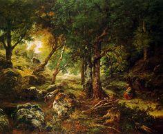 Théodore Rousseau - Paysage de forêt et le soleil