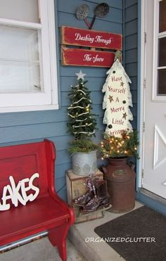 A Christmas pew on a front porch.