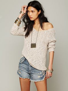 Free People Lace Back Oversized Pullover, $108.00