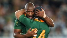 South Africa's Makazole Mapimpi celebrates with team-mate Cheslin Kolbe after scoring his team's first try during the win over England in the Rugby World Cup final. Dan Cole, Rugby Championship, The Englishman, Pool Games, World Cup Final, All Blacks, Rugby World Cup, Mouth Guard, Referee