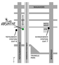 Cafe Absinthe is a renowned Mediterranean fusion restaurant & bar as well as a social hub for the international community of Osaka. Running Map, Change Language, Nikko, Location Map, Map Design, Livingston, How To Plan, Coffee, Illustration