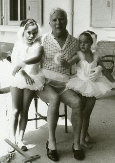 Charlie Chaplin with his daughters.