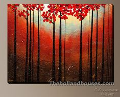 Create an ideal focal point on your wall with this original abstract art painting 'Aroma do Campo'. This canvas art for sale highlights an amazing sunset and trees with red leaves. Paintings For Sale, Original Paintings, Canvas Art For Sale, Fine Art Posters, Abstract Art, Abstract Paintings, Art Paintings, Flower Art, Art Prints