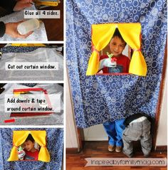 DIY puppet show theatre - No-Sew It was so easy to make and the kids have fun with it for hours playing with inside and in the backyard!