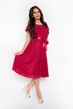 Red Floral Lace Fit & Flare Dress with Illusion Sweetheart in front $49.99