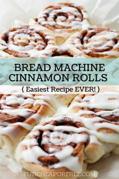Holy CINNAMON ROLLS, Batman!! And from a BREAD MACHINE! You won't believe how easy they are, and so stinking good! Recipe from FunCheapOrFree.com                                                                                                                                                                                 More