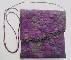 EVENING SHOULDER BAG mauve free machine embroidered by BusyBlueCat, £28.00