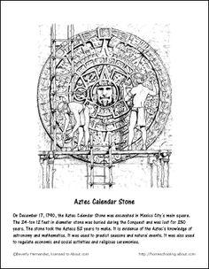 Mexico Printables: Aztec Calendar Stone Coloring Page