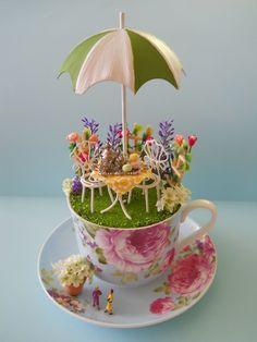 'Afternoon Tea' - #teacup #diorama #miniature #world - by #Love #Harriet @ www.lilyanddot.com