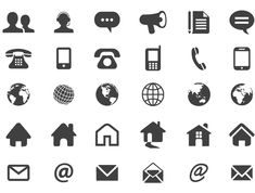 Set of numerous contact icons in flat silhouette style artwork includes web to eCommerce related designs. Flat abstract interface icons depicts customer representative, phone, mobile, speech bubble, globe, home, email and much more.. More Free Vector Graphics, www.123freevectors.com