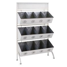 Tinker Storage Bin Rack General store style metal storage rack features twelve bins, numbered detail and a glossy white finish. Do It Yourself Organization, Organizing Your Home, Home Organization, Organizing Tips, Metal Storage Racks, Iron Storage, Storage Containers, Home Decor Accessories, Storage Spaces