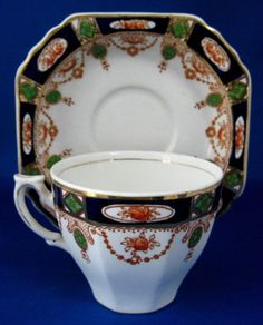 Imperial Derby Imari Cup And Saucer Cobalt Rust T Hughes England Coffee Cups And Saucers, Teapots And Cups, Cup And Saucer Set, Tea Cup Saucer, Tea Cups, Blue Willow China, Turkish Coffee Cups, Tea Service, Chocolate Pots