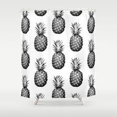 Black & White Pineapple - Shower Curtain $68