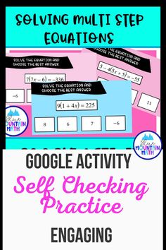 Looking for a self-checking way to practice solving Multi step equations with an engaging activity? This activity includes 16 problems in google slides where students solve the equations and get immediate feedback on whether correct or not. Note: students use this activity in present mode. Recording sheet is included so students can show their work.Internet suddenly out? No problem. You can print out the problems and have the students complete the activity.