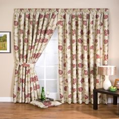 One Pair Of WHITEHEADS Chenille Floral Design Lucille Pencil Pleat Lined Curtain