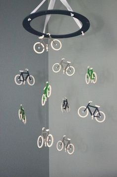 Bicycle Nursery Mobile - Colored Ring Bike Baby Decor – Flutter Bunny Boutique, LLC
