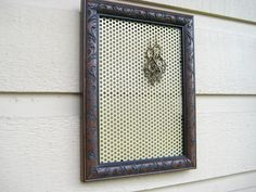 Earring Holder, embossed chocolate brown wood frame with a metal magnetic insert for jewelry or photos, cottage and country chic decor by jensdreamdecor on Etsy