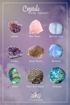 The crystals we chose as powerful tools to use in self-healing ritual to address the causes of anxiety are Amethyst, Smokey Quartz, and Lepidolite.