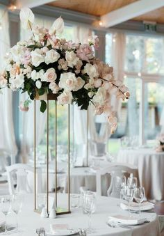 New wedding centerpieces tall pink flower arrangements Ideas Wedding Reception Centerpieces, Wedding Table Flowers, Wedding Table Centerpieces, Reception Table, Floral Centerpieces, Floral Wedding, Wedding Decorations, Centerpiece Ideas, Table Centre Pieces Wedding