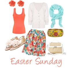 Easter Sunday Outfit, created by kahaas10 on Polyvore...love the floral print skirt with a solid tank and cardigan! too cute!