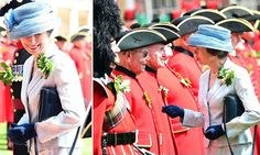 Anne, 68, took on the role of Reviewing Officer at the annual parade to mark the Royal Hospital's founding more than 300 years ago. The Princess Royal stood out among a sea of red in a chic pale blue suit.