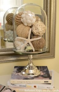 Beach decor!!! Bebe'!!! Love the sea shells displayed in a cloche!!!