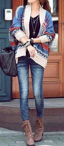 Geo cardigan + brown boots <3