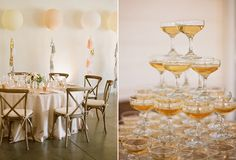 Champagne tower and big balloons to easily dress up a large wall