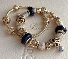 Wonderful Black Gold Jewelry For Beautiful Pieces Ideas. Breathtaking Black Gold Jewelry For Beautiful Pieces Ideas. Pandora Gold, Pandora Beads, Pandora Bracelet Charms, Pandora Jewelry, Pandora Pandora, Charm Bracelets, Bangle, Black Gold Jewelry, Bracelet Designs